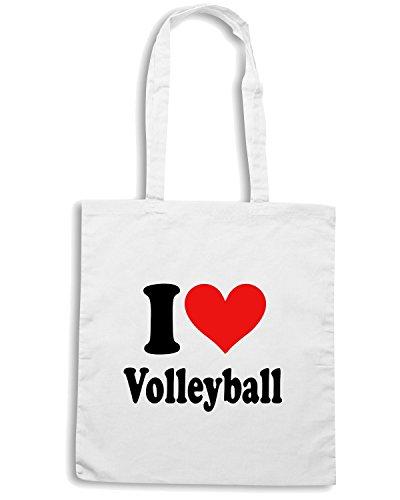 T-Shirtshock - Borsa Shopping TLOVE0010 i heart volleyball Bianco