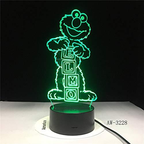 icht / 3d illusion lampe / 7 farben schreibtisch dekoration lampen/geburtstagsgeschenk/abs basis/elmo big bird ()