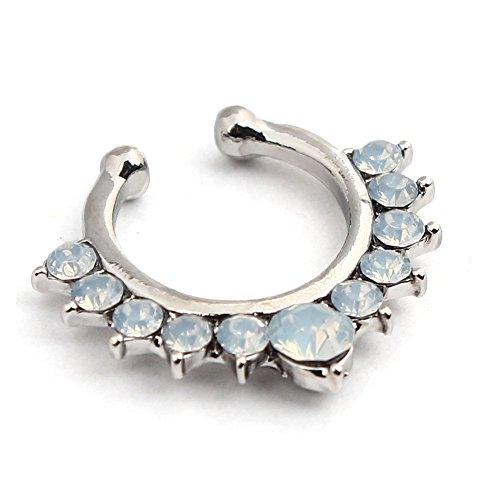 Vcmart 1 pezzo donne lega di cristallo clip-on naso finto anello aperto hoop organo non piercing studs