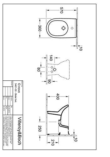 Villeroy & Boch Bidet O.novo 546100 360x560mm bodenst wandnah Hl. durchgest m. Ül. weiß c, 546100R1