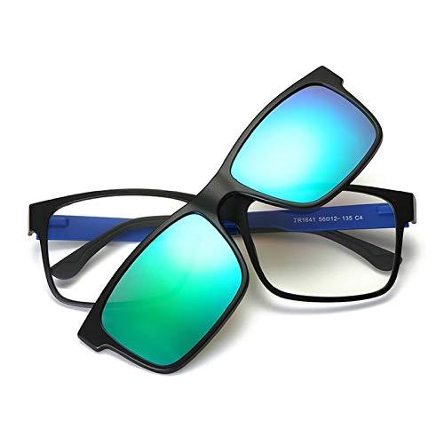 LKVNHP Hohe Qualität Clip Auf Polarisierte Sonnenbrille Männer Frauen Magnetische Sonnenbrille Für Mann Fahren Brillengestell Verspiegelte LinseGrün