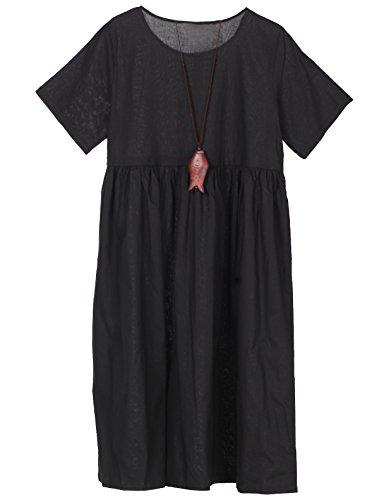 MatchLife Damen Sommer Leinen Kleider Casual Knielang A Linie Freizeitkleid mit Binden Kurzarm Partykleid Schwarz L