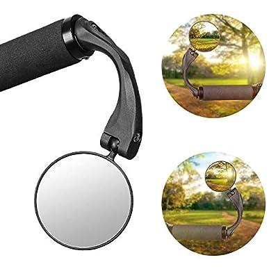 1 STÜCKE 360° Drehspiegel Fahrradspiegel für 16-22mm Flacher Lenker, Rückspiegel Lenkerspiegel Konvexen Reflektor Spiegel mit Weitwinkelobjektiv für Fahrrad E Bike Mountainbikes (Werkzeug Enthalten)