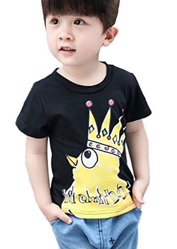 Minetom Kinder baby boys T-Shirt Jungen Ninjago Tee tops Kaiserkrone kleine gelbe Huhn Mode und reizendes Shirt sommer Rundhals pullover Schwarz 120