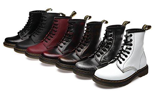 uBeauty - Bottes Femme - Martin Bottes - Boots Flattie Sport - Chaussures Classiques - Bottines À Lacets Noir A