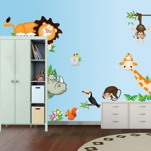 ufengke Animali Cartoon Scimmie Simpatici Leoni Rinoceronte Giraffa Adesivi Murali, Camera dei Bambini Vivai Adesivi da Parete Removibili/Stickers Murali/Decorazione Murale