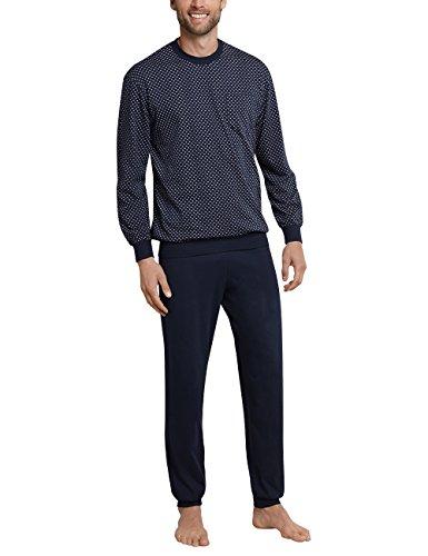 Schiesser Herren Schlafanzug lang mit Bündchen, Blau (Dunkelblau 803), Gr. X-Large (Herstellergröße: 027)