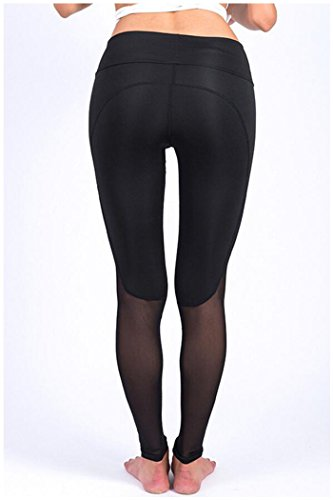 Zaywind Damen Sport Stretch Leggings Training Tights Hohe Taille Mesh Net Yoga Hosen Schwarz