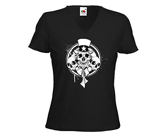 Rockabilly femme T-Shirt 3 Skulls Uncle Sam Army Biker USA Vintage Gr.S