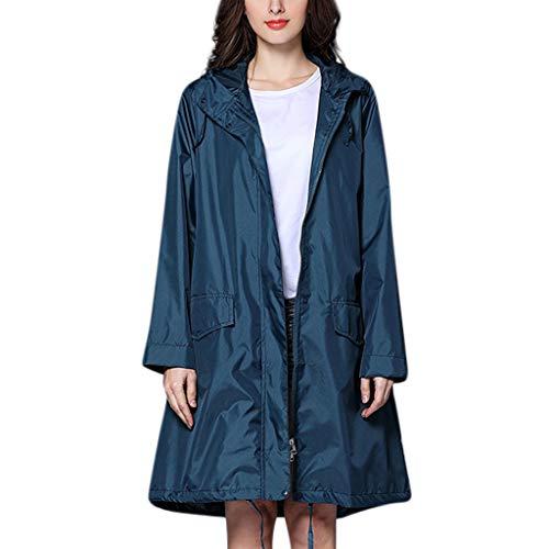 IZHH Mode Damen Regenjacke, Kapuze Einfarbig Mantel Feste Taschen Winddicht Freien Outwear Wasserdichte Splice Windjacke Regenbekleidung(Marine,X-Large)