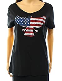 Retro Brand Women's Eagle American Graphic T-Shirt
