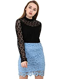 A Thousand Things Women's Slim Fit Lace Top