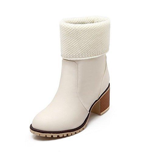 AgooLar Damen PU Niedrig-Spitze Rein Ziehen auf Mittler Absatz Stiefel, Cremefarben, 35