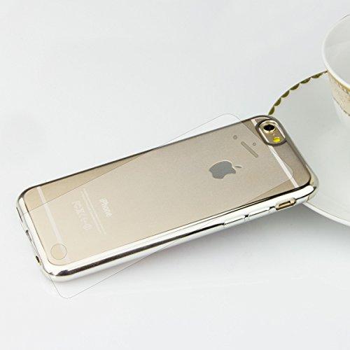 Chromé en silicone TPU Case Etui pour Téléphone portable métallique Housse Back Case Transparent avec bord coloré Coque CRYSTAL Boîtier arrière Sparkles Bumper, Plastique, bleu, für iPhone 5/5s/SE Silber + Glas