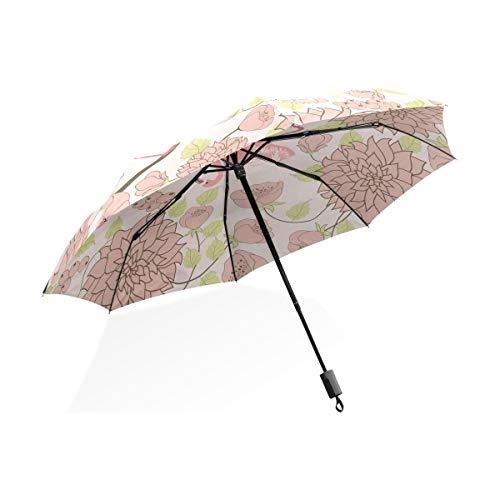 Isaoa Automatique Voyage Parapluie Pliable Compact Parapluie Bird Flamingo Fleur Coupe-Vent Ultra léger Protection UV Parapluie pour Homme ou Femme