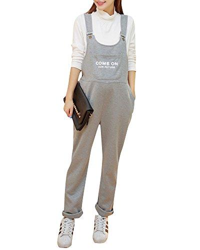 Salopette Premaman Donna Overall Tuta Jersey Pantaloni Casuale Baggy Strappy Monopezzi Grigio Chiaro M