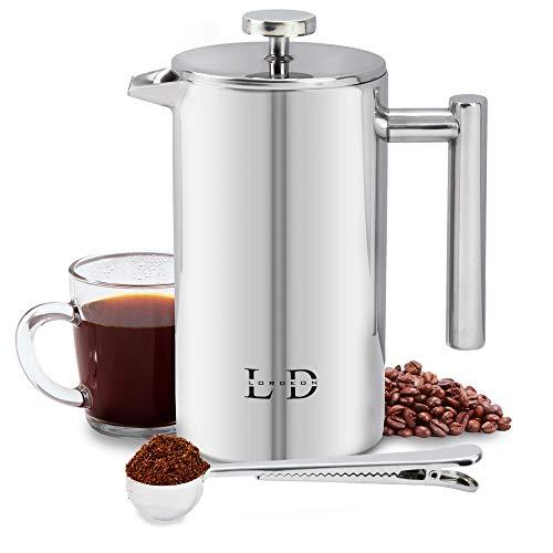 Lordeon Kaffeepresse aus Edelstahl, 1 l (8 Tassen), doppelwandig, isolierend, inkl. Kaffeemesslöffel mit Beuteldichtring und 2 Ersatzfilter