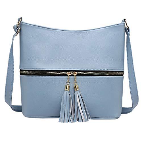 Damen Umhängetasche Taschen Shoulder Bag Handtasche Schultertasche Satchel Schulter handbag Rucksack,Dame Solid Color Quaste Wild für Alltag Business ()