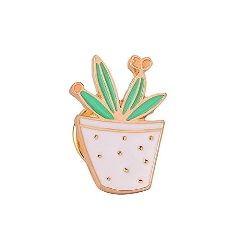 Adisaer Damen Tasche Kragen Anstecker Brosche Emaille Topfpflanzen Blume Broschen Grün Weiß Mädchen 1 Stück Cartoon