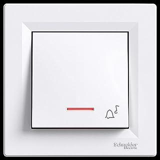 asfora–Klingeltaster mit LED, Taster, Schalter, Steckdose, Komplett, Schneider Electric, weiß, NEU