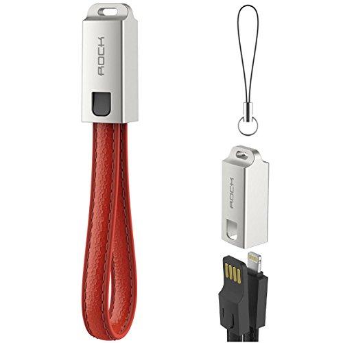 Rock iphone 7 plus pelle vegan cavo di ricarica con catena chiave, 14cm corto lightning usb cavo dati[custodia in metallo][portachiavi portatile] per iphone 7/6/6s plus, iphone 7/6/6s/5s/5 ios dispositivi con connettore a fulmini - rosso