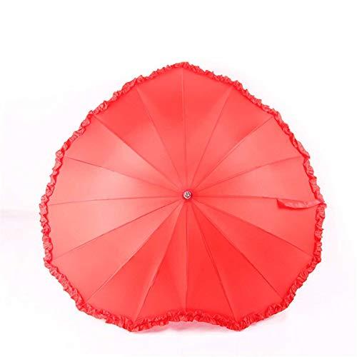 NFHMAN Rote Herzförmige Gefaltete Sonne Und Regenschirm Für Frauen