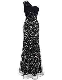 Angel-fashions Mujer Plisado Vestidos de Noche Un Hombro Cuentas