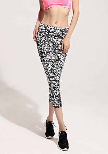 Pantalon de Sport Femmes Gym Yoga Cropped Leggings Fitness Pantalons Athlétique Noir Blanc