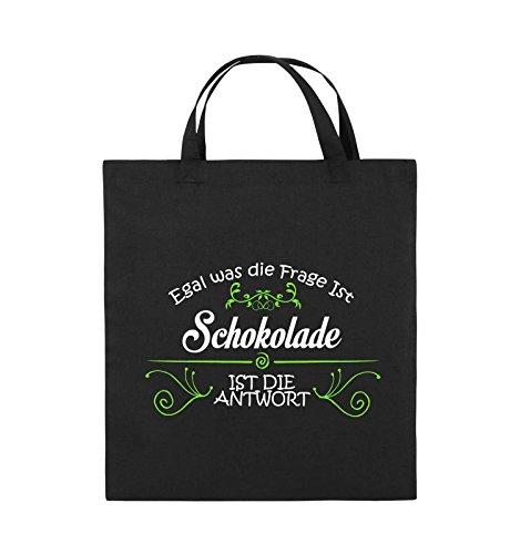 Comedy Bags - Egal was die Frage ist, Schokolade ist die Antwort. - Jutebeutel - kurze Henkel - 38x42cm - Farbe: Schwarz / Weiss-Neongrün Schwarz / Weiss-Neongrün