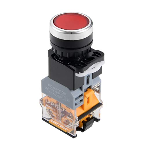 ZCHXD 22mm Momentary Push Button Switch Red LED Light Round Flat Button DPST 1 NO 1 NC -