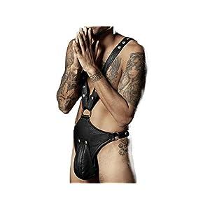 HFjingjing Sexy Kleidung Männer PU Leder Erotik Jumpsuit Sexy Dessous Unterwäsche Unterhose Bodysuit G-String Jockstrap Briefs – XXL Cosplay Kostüm