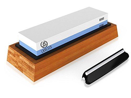 langxun 2-in-1-Messerschärfer Stein, 2Seite Körnung 1000/6000Schleifstein | Bonus Bambus rutschfest Boden & Winkel Guide