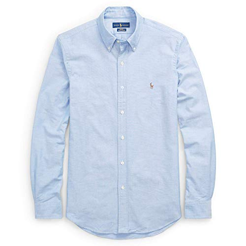 Polo ralph lauren camicia button down tessuto oxfod slim fit (xxl, blue)