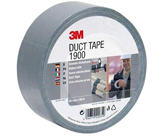 3M Gewebeklebeband 1900 in Silber-Grau 50mm x 50 m - Duct Tape handreißbar & wasserfest für universelle Anwendungen wie Markieren, Abdichten, Bündeln - 1-er Pack