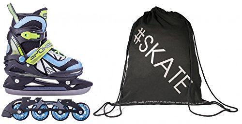 SET - SPOKEY® ROGUE Inline Skates / Schlittschuhe mit austauschbarer Schiene + ULTRAPOWER® Beutelrucksack | Kinder | Damen | Herren | Inliner | Blades | Rollen | Kufe | ABEC9 | 29-32 | 33-36 | 37-40, Größe/Size:37-40, Farben:Blau - Grau - Schwarz (Mädchen-hockey-skates)