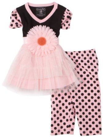 Mud Pie 167065 Perfectly Princess Tunic with Leggins Kleid rosa schwarz - Pie Kleider Mud