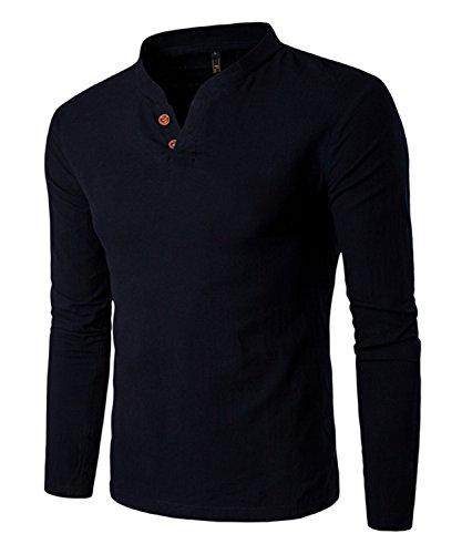 Dalisay Herren Hemden Stehkragen Langarm Leinen Retro Schlank Social Business Bluse Mode Freizeithemden Tops S-5XL (Schwarz, XL)