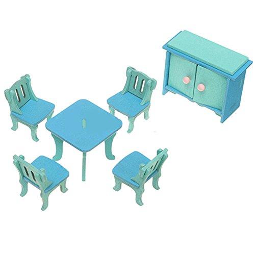 Nuohuilekeji Wooden Miniature Doll House Furniture Room Set Toy Xmas Gift for Child Kids - Blue Restaurant