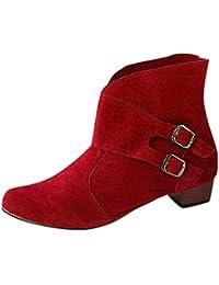 Fuxitoggo Botas Casuales para Mujeres, Correa con Hebilla para Mujer Zapatos con Punta Redonda Tacones