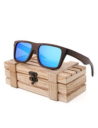 HNPYY Sonnenbrillen Bambuspalme Bambus Holz Square Frame Sonnenbrillen Retro Herren Sonnenbrillen,A