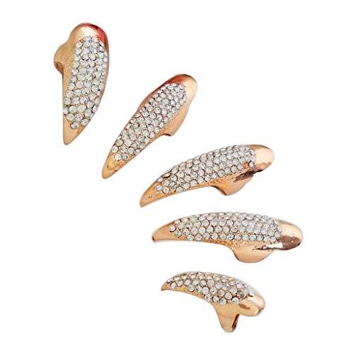 5 Stück Bling falsche Nägel Krallen Pfote Finger Ringe Vintage 3D Gothic Punk Stil Fingerring Fingernagel Ring Nagelring Cosplay Dekoration - Golden