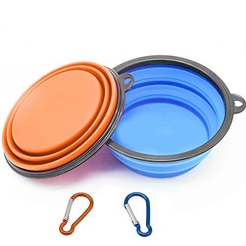Cdyiswu Hundennäpfe, Faltbarer Napf aus Silikon (BPA-frei), idealer Fressnapf und Wassernapf für unterwegs mit Karabiner, 2er-Pack (1 x Blau, 1 x Orange) -
