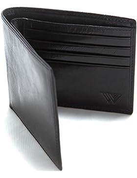 RFID Cartera Hombre Piel de Walletech | Cartera Billetera Fina de Piel Auténtica Italiana con Bloqueo RFID para...