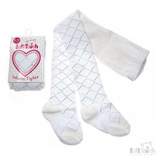 Baby & Toddler Girls Diamond Tights in 3 colours (18-24 months, White)