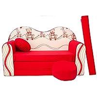 Mini sofá cama infantil para bebé sofá de juego de sillón infantil con diseño de cojín de colchón de tacto suave y acogedor de terciopelo
