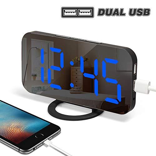 Yabife USB Stromversorgung Wecker Digital mit Spiegel Oberfläche, Digitaluhr/Tischuhr / Digitalwecker/Laut Alarm Clock Schlafzimmer Uhr Tisch & Wand