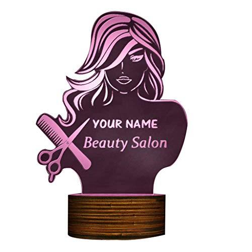 ZHJXQD 3D dekoratives Nachtlicht Beauty Salon 3D LED Nachtlicht, Friseur Friseur Schere Kamm Tisch Schreibtischlampe Benutzerdefinierte Name Modernes Design Emotionales Nachtlicht