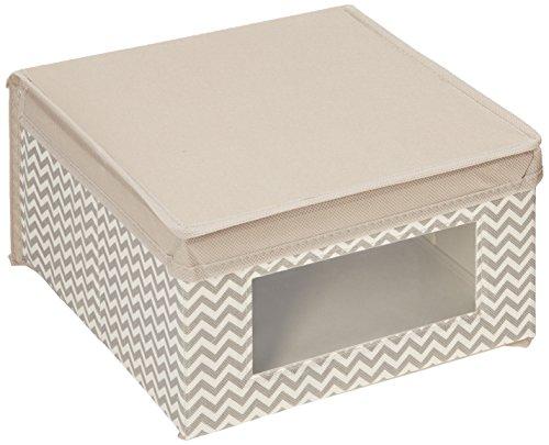 mDesign 4er-Set Stoffbox – Aufbewahrungsbox aus Stoff mit Zick-Zack-Muster – ideal zur Ablage von Kleidung, Decken, Accessoires und als Schrankbox – Aufbewahrungskiste mit praktischem Deckel – taupe