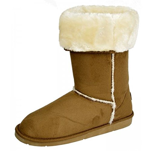 womens-boots-ladies-ankle-mid-calf-faux-fur-lined-collar-winter-warm-snow-boots-beige-7