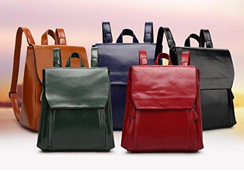FEN Sac à dos Femmes Mode Coréenne Voyage Collège Étudiant Vent Sac à Dos En Cuir (Noir, Marron, Vert, Bleu, Rouge)